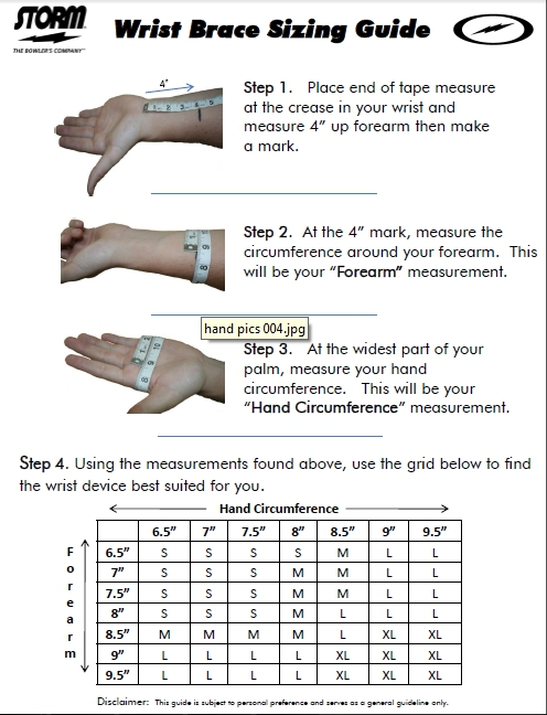 Storm Wrist Support Sizing Chart